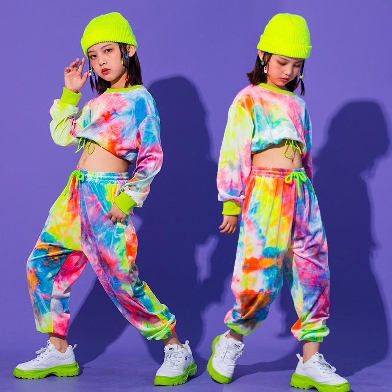 2021 New Hip hop style girls' wear, multicolor sweaters, informal girls' pants, ballroom wear, stage wear, Carnival wear