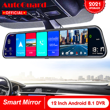 Car-Rearview-Mirror Auto-Recorder Dash-Camera Android 8.1 12inch GPS 4G Avi Dual-Lens
