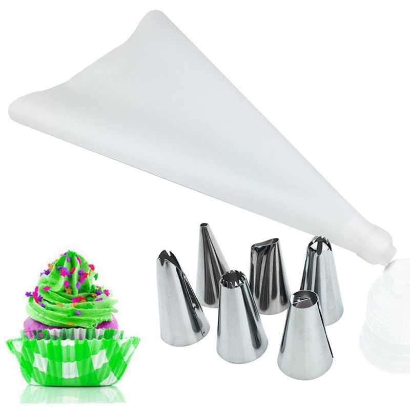 18Pcs/14pcs/8pcs Edelstahl Düse Set DIY Silikon Icing Piping Creme Gebäck-tasche Kuchen decor Werkzeuge Küche Zubehör