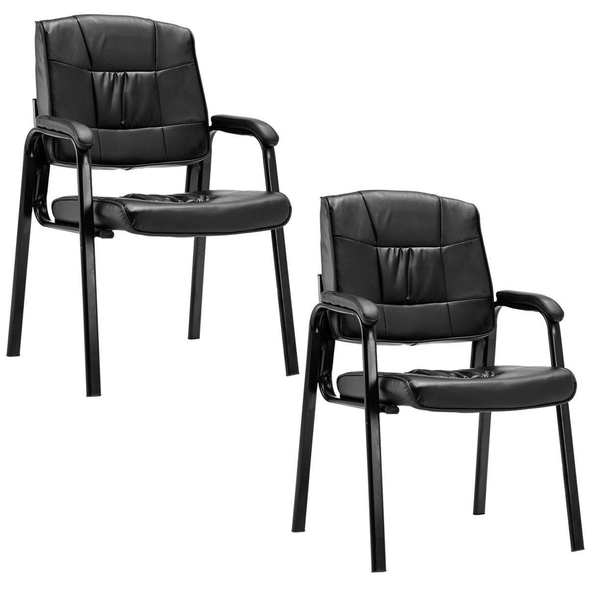 Costway Set Of 2 PU Conference Chair Reception Office Guest Lecture Exam Armchair New