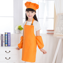 Aprons Cooking Painting-Craft Chef-Hats Color-Anti-Fouling Polyester Children with Solid-Color