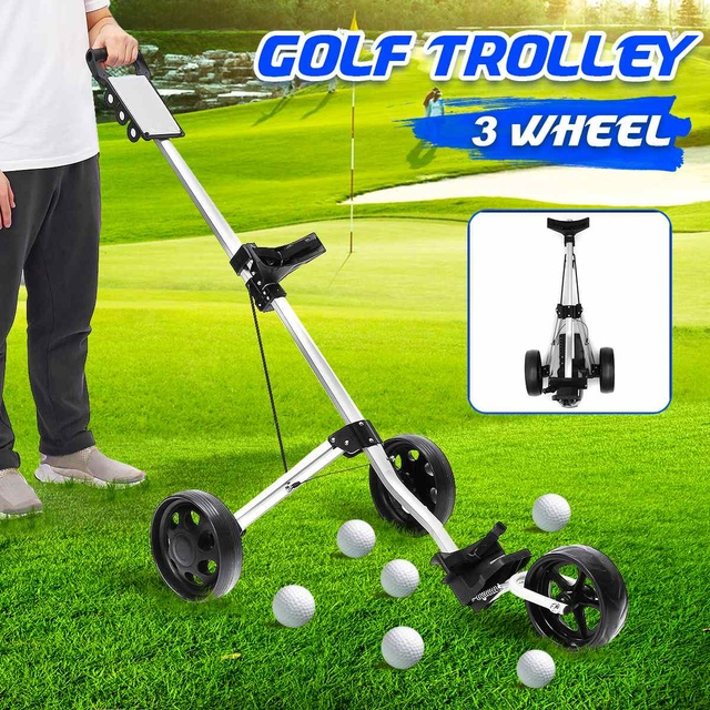Golf Pull Cart Iron Black Adjustable Golf Trolley Cart 3 Wheels Push Pull Golf Cart Aluminium Alloy Foldable Manual Golf Trolley 1