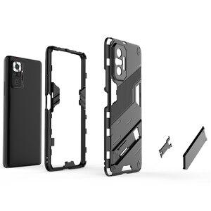 Image 4 - עבור Xiaomi Redmi הערה 10 פרו מקרה כיסוי עבור Xiaomi Redmi הערה 10 פרו מגן כיסוי פאנק שריון מעטפת Kickstand טלפון מקרה קאפה