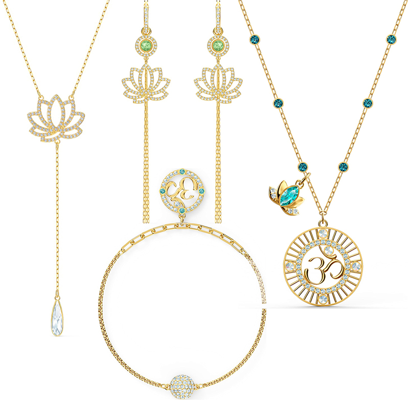 SWA  2020 New Om Symbol SYMBOLIC LOTUS Green Crystal, Full Bloom Lotus Necklace Represents Calmness Is The Best Gift For Women