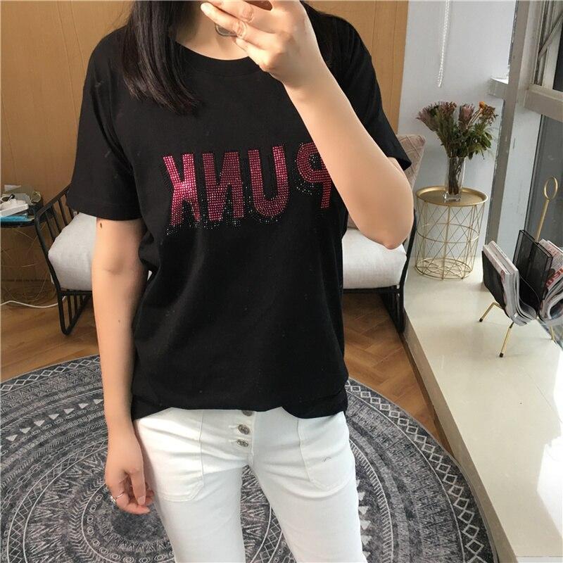 Women T-shirt Summer Cotton Short Sleeve Letter Print Color Pink Blue Short Sleeve T-Shirt