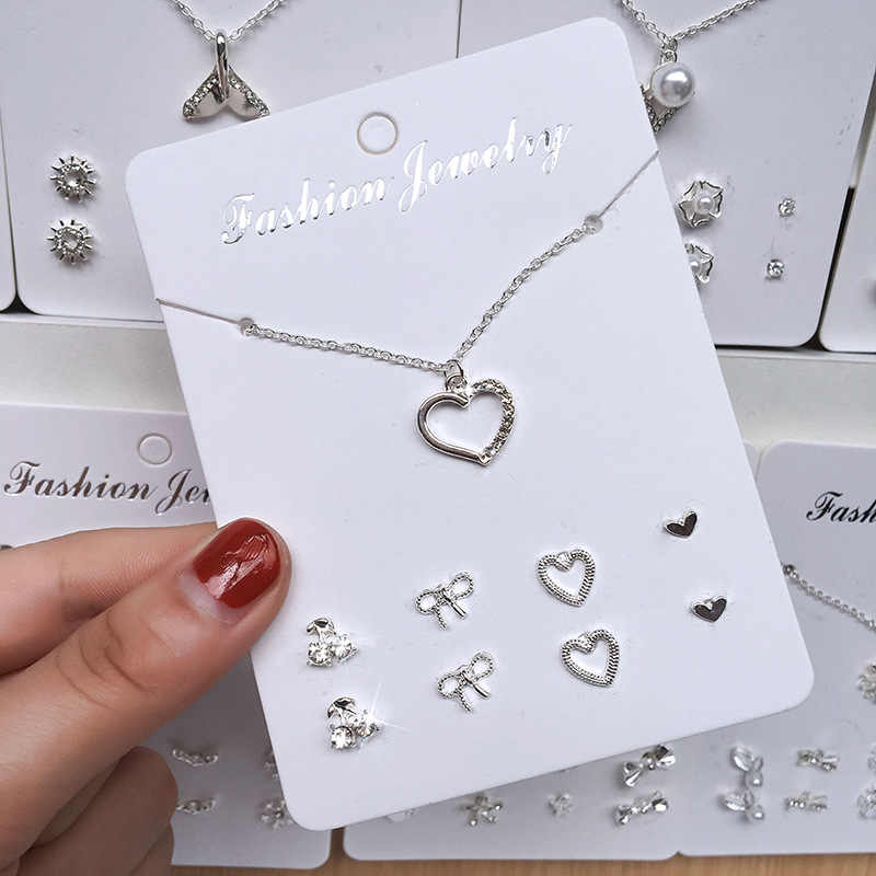Ins popular Korean version of the simple and lovely temperament necklace/earrings set