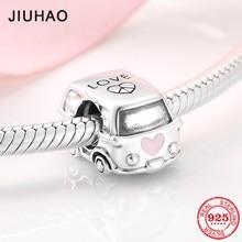 Moda basit 925 ayar gümüş düğün araba boncuk aşk takı yapma Fit için JIUHAO takılar bilezik bilezik DIY hediye