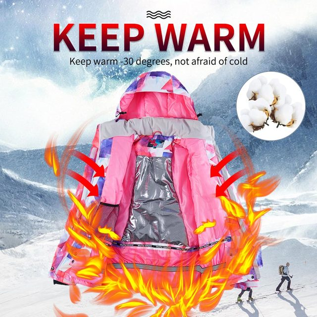 -30 degree Ski Suit Women Winter Female Jackets and Pants Warm Waterproof Women's Jacket Outdoor Snowboard Cycling Camping Brand 6