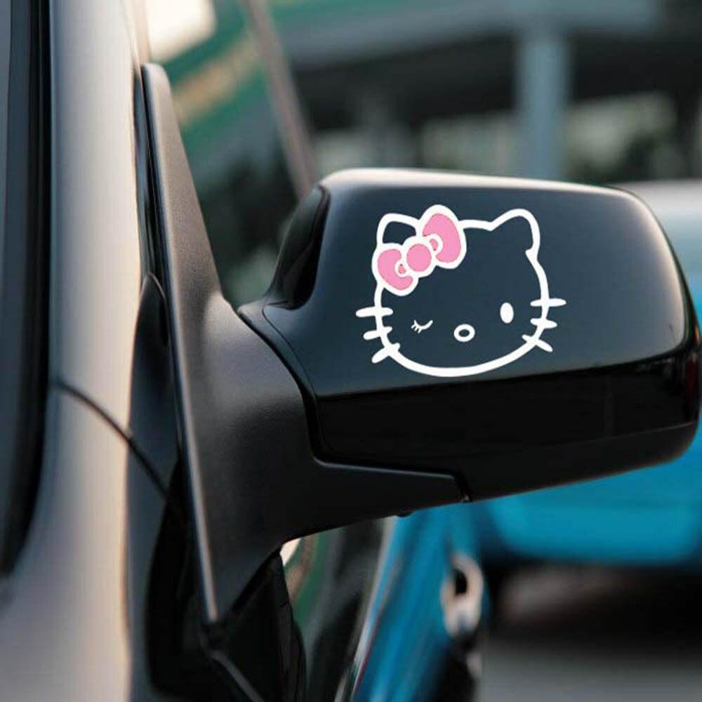 Aliauto 2 X забавные наклейки на зеркало заднего вида автомобиля и наклейки аксессуары для Volkswagen Polo Golf 11X8 см - Название цвета: Pink White