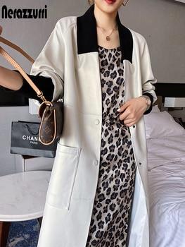 Nerazzurri Weiche lange leder mantel frauen 2020 v neck raglan hülse taschen Herbst faux leder jacke für frauen plus größe mode
