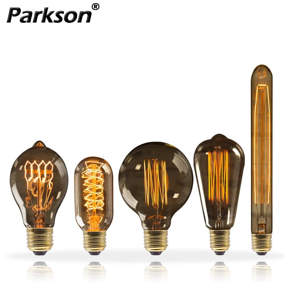 Retro Edison Lamp 220V 40W E27 Vintage Light Bulb For Home Decor T10 T45 A19 ST64 G80 G95 Bombillas Ampoule Incandescent Lamp