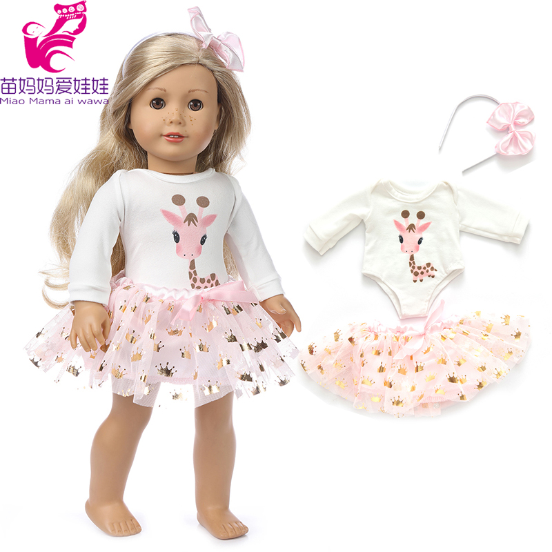 43cm Baby Doll Pink Giraffe Lace Dress 18 Inch American OG Girl Doll Clothes Headband Accessories