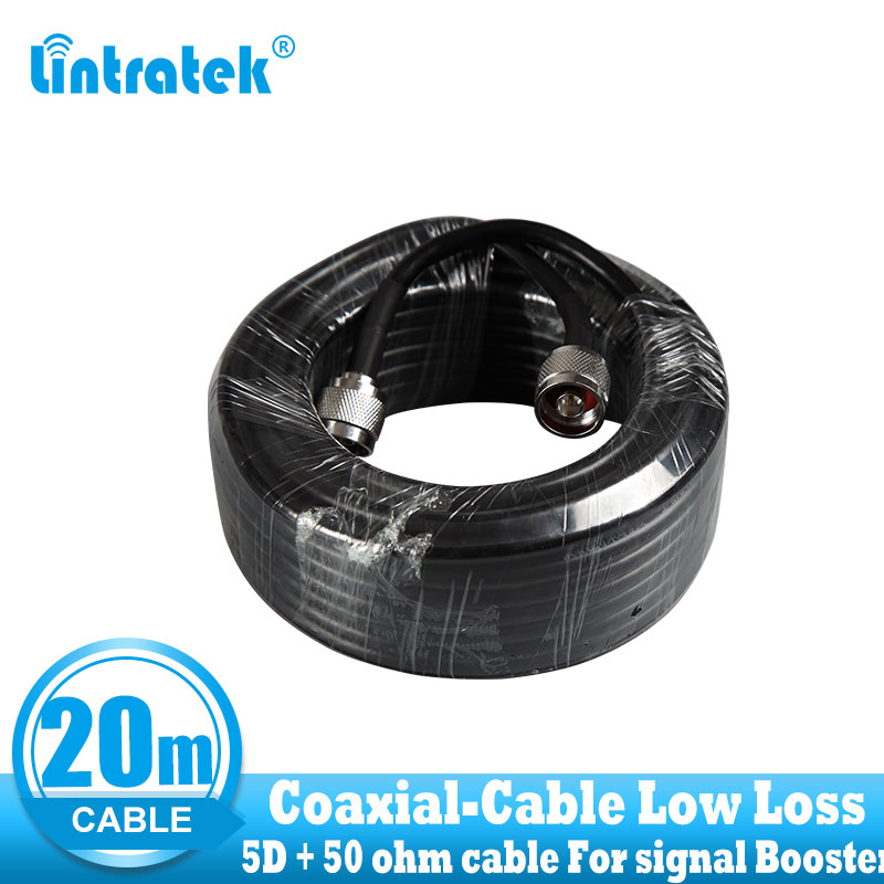 Low Loss 20 Meters Coaxial Cable N Male To N Male For Cell Phones 2G 3G 4G Signal Booster Repeater Use Top Quality 5D 20m Cable