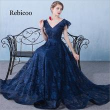 2019 New Vintage V neck A-line Long party Dress Navy Blue Tulle Sexy Prom Party Dresses