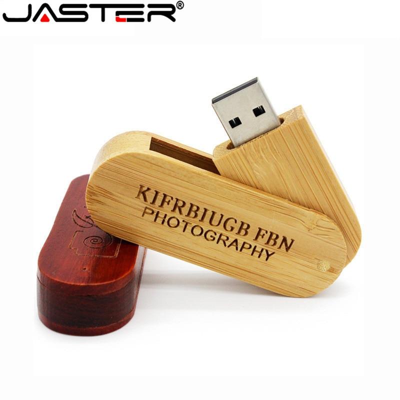 JASTER Wooden Portable Wood USB Flash Drive Pen Drive 4GB 16G 32GB 64GB Memory Stick U Stick Wedding Gifts Free Custom Logo