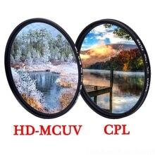 KnightX MCUV UV CPL soczewki polaryzacyjne filtr 49 52 55 58 62 67 72 77 mm dla canon nikon d600 d80 światła d3300 18 200 akcesoria