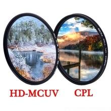 KnightX filtro de lente polarizador MCUV UV CPL 49 52 55 58 62 67 72 77 mm para canon d600 nikon d80 light d3300 18 200 Accesorios