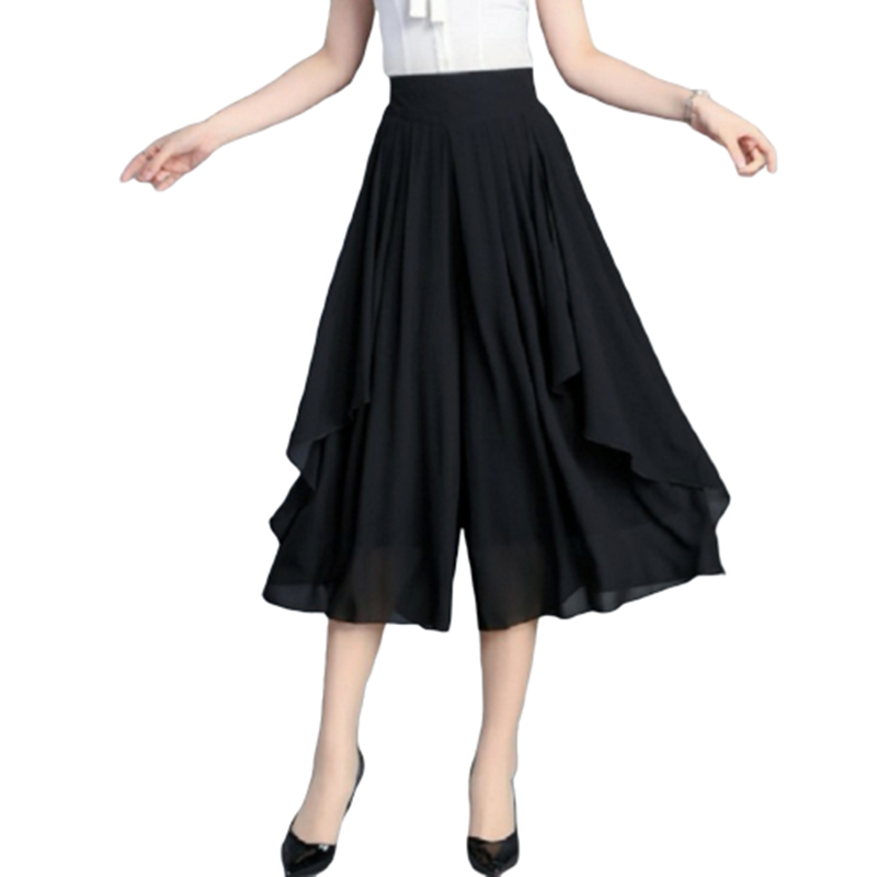 Elastic High Waist Slim Elegant Chiffon Capris female pants Skirts Women Summer Wide Leg Medium Long Leisure Loose Trousers