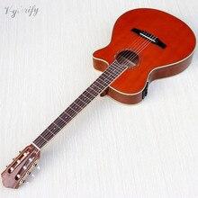 Cor laranja flamenco guitarra fino corpo clássico guitarra cutway design acabamento de alto brilho 39 polegada com função sintonizador eq