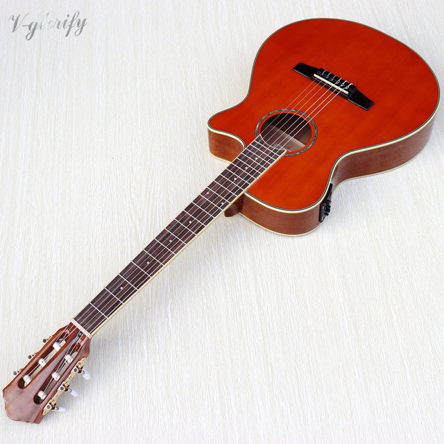 orange color Flamenco guitar thin body classic guitar cutway design high gloss finish 39 inch with EQ tuner function