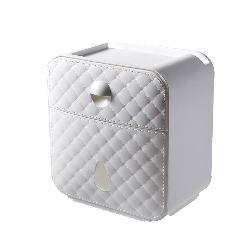 Tissue Box Waterproof Wall Mounted Plastic Bath Case Toilet Paper Double Layer