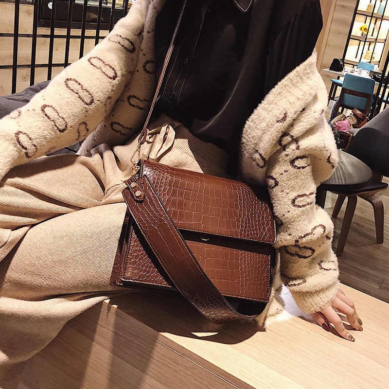 Mode Krokodil Frauen Shouder Taschen Designer Marke Breiten Gurt Handtaschen Luxus Pu Leder Crossbody-tasche Kleine Klappe Weibliche Geldbörsen