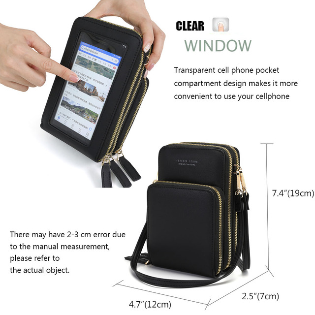 Drop Shipping Crossbody Cellphone Purse Women Touch Screen Bag RFID Blocking Wallet Shoulder Handbag 2