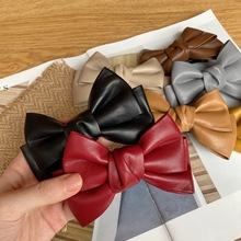 Bow Hairpin Women Korean Temperament Wild Retro Autumn And Winter Girl New Pu Leather Bangs Clip Hair Accessories