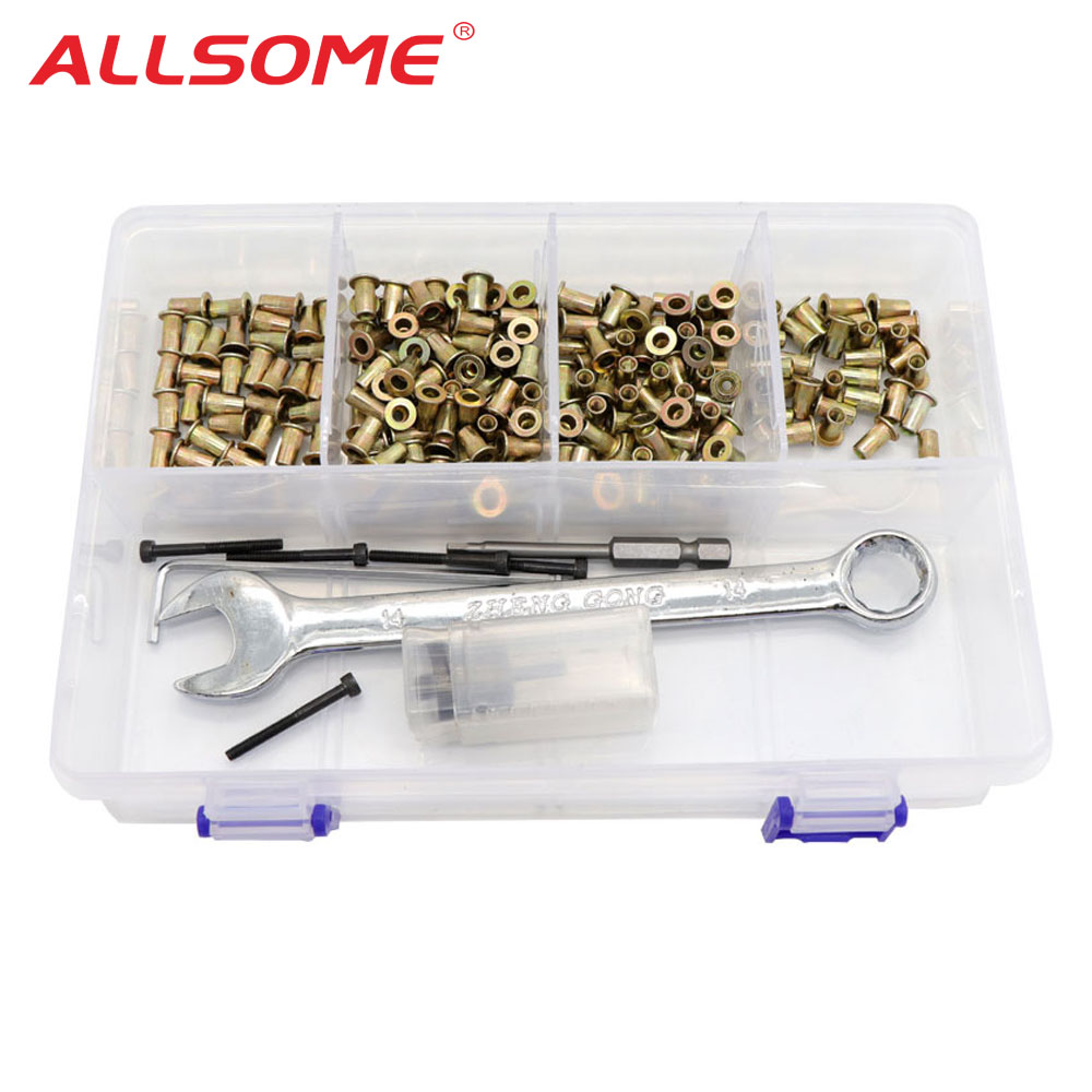 ALLSOME Hand Rivet Nut Gun Head With 100 Pcs Nuts Simple Rivet Nut Installation Manual Riveter Nut Tool Accessory M3 M4 M5 M6