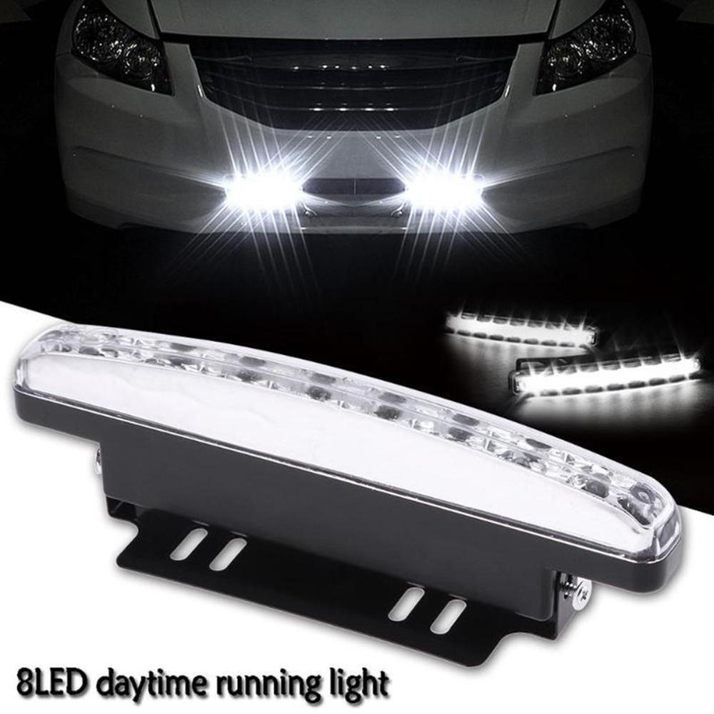 8 LED Daytime Running Light 2 Pcs Car waterproof Hawkeye DRL Fog Driving Lamp
