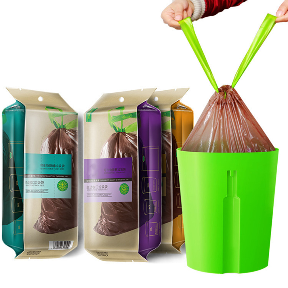 Biodegradable Garbage Trash Bag Home Kitchen Dustbin Bin Drawstring Solid Eco-friendly Bag Environmentally Degradable Portable