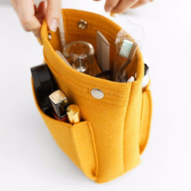 Insert Toiletry Bag Women Felt Travel Organizer Handbag Purse Large Storage Pouch Makeup Cases Cosmetic Bag Beauty Female Tote