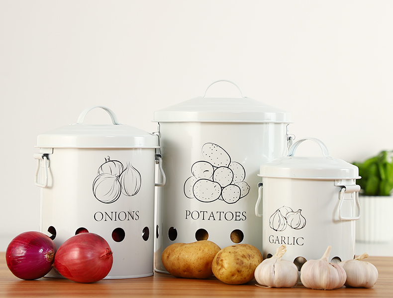 Breathable Kitchen Container Set and Food Storage Bins with 2 Handles for Storing Potatoes and Onions 11