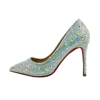 2020 Spring Wedding Party Season Bling Crystal Pointy Toe Sweet Elegant Women Thin High Heels Shoes