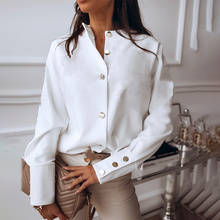 Autumn Elegant White Shirts Women Buttons Stand Collar Single Breasted Female Shirt Female Metal 2020 Winter Fashion Ladies Tops