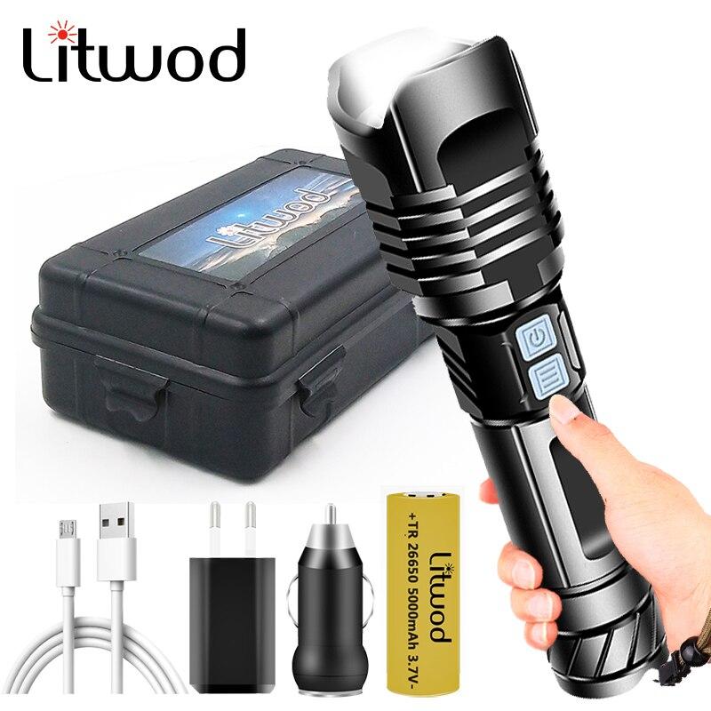 9-core XHP90.2 lampe de poche Led la plus brillante USB Rechargeable batterie batterie Flash lumière torche en aluminium Zoomable étanche 30W