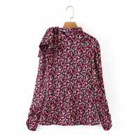 new autumn women chic flower printing bow tied turtleneck blouses shirts women pleated sleeve back zipper blusas tops LS4145