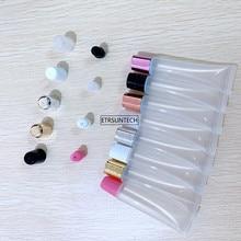 300PCS 10ml 15ml 20ml Empty Lipstick Tube,Lip Balm Soft Hose,Makeup Squeeze Sub bottling,Clear Plastic Lip Gloss Container F606