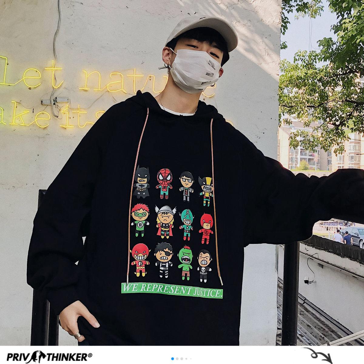 Privathinker 2020 Autumn Men's Casual Hoodies Graphic Printed Japanese Streetwear Men Fashion Hip Hop Pullovers Sweatshirts