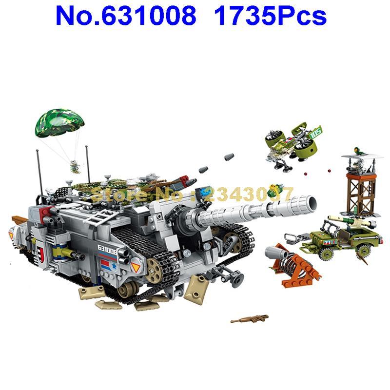 631008 1735pcs 2in1 현대 군사 호랑이 무거운 파괴자 탱크 차량 육군 걷는 로봇 빌딩 블록 7 피규어 장난감-에서블록부터 완구 & 취미 의  그룹 1