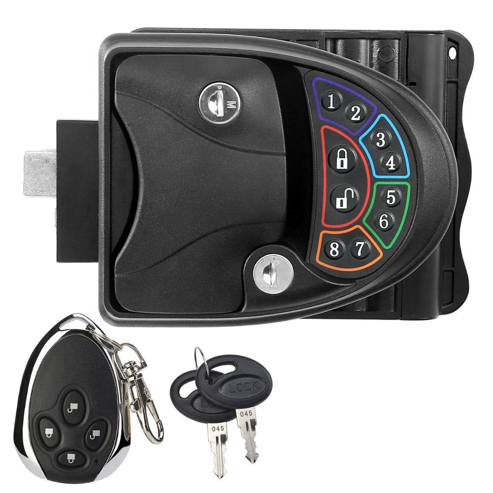 Serrure de porte à poignée sans clé RV pour verrou de remorque de camping-car avec clavier et télécommande sans fil Fob 20m