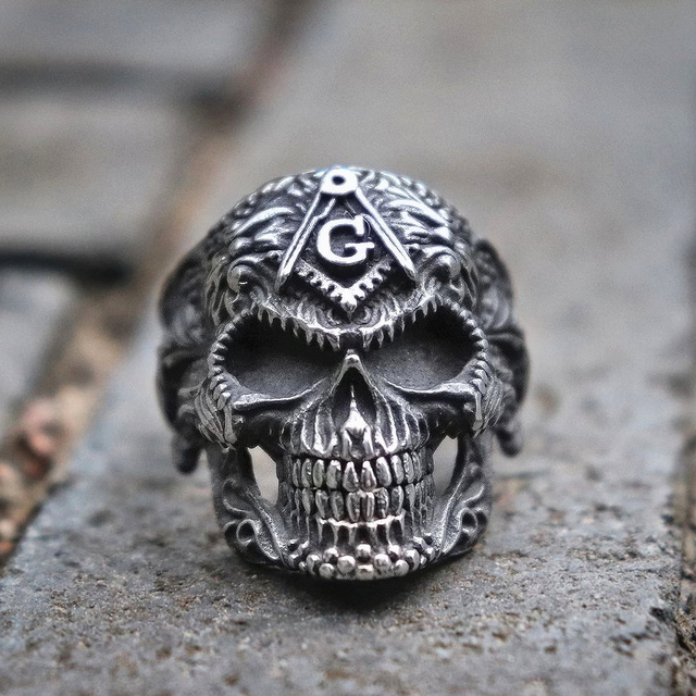 STAINLESS STEEL MASONIC SUGAR SKULL RINGS