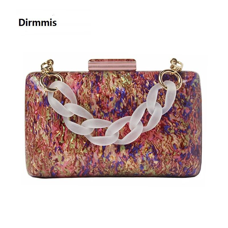 New Trendy Acrylic Bag Brand Fashion Women Handbag Red Geometric Luxury Wedding Party Evening Bag Woman Casual Box Clutch Purse