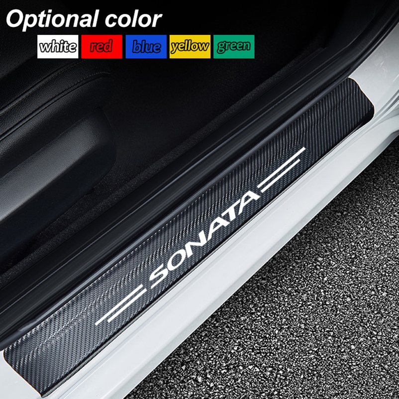 4PCS Car Door Sill Stickers For Hyundai Sonata Auto Carbon Fiber Anti Scratch Protector Decal Scuff Plate Car Accessories