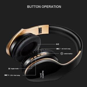 Image 2 - Casque sans fil casque Bluetooth sur loreille stéréo basse écouteur pliable réglable écouteurs de jeu avec micro pour téléphone PC