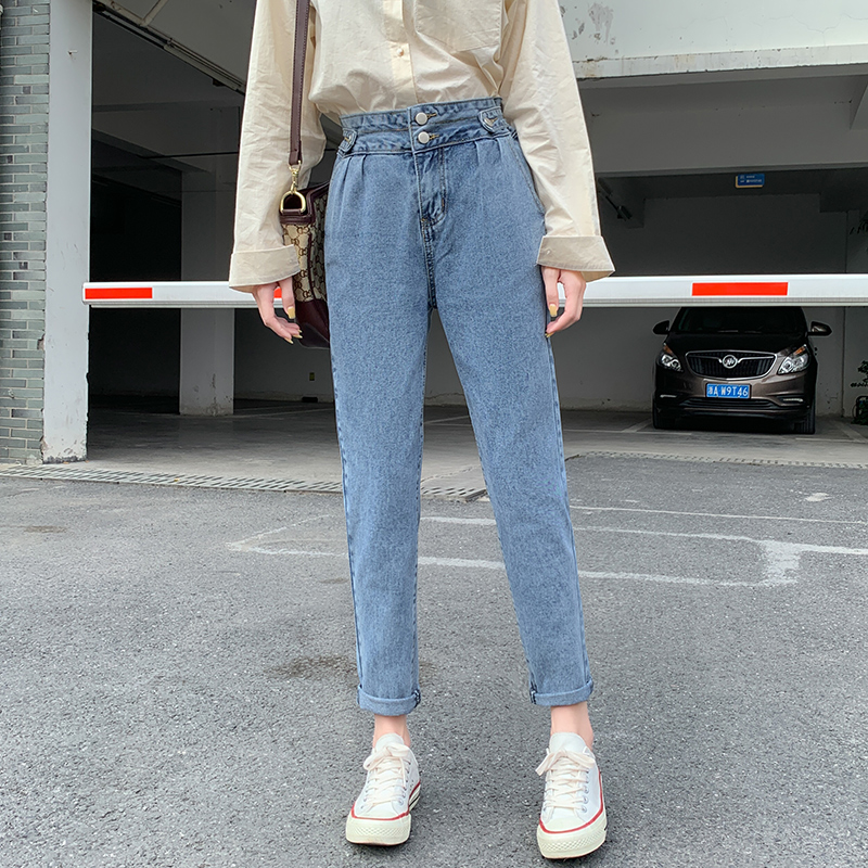 New High Waist Mom Jeans Women Slim Harem Pants Balck Blue Ankle-Length Pencil Pants Vintage Loose Denim Trousers Autumn 2019