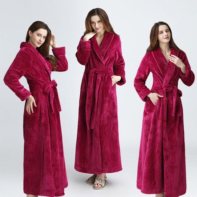 ผู้หญิงผู้ชายExtraยาวDobby Coralขนแกะเสื้อคลุมอาบน้ำฤดูหนาวหนาFlannel Thermal Bath Robe Kimonoชุดเจ้าสาวPeignoir
