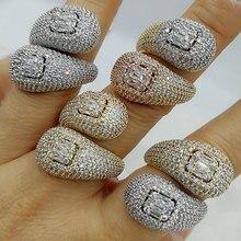 GODKI bagues de mariage de luxe à Double tête empilables, fiançailles, bijoux de mariage, zircone cubique, accessoires en CZ