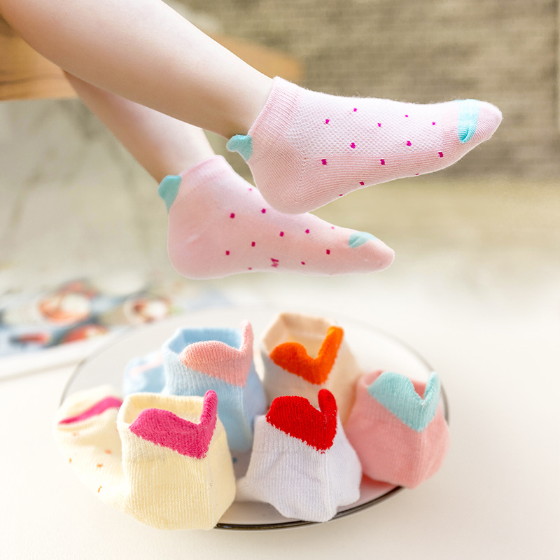 5 Paris/Lot Children Ankle Socks Boys Girls Cute Baby Girls Heart Star Cartoon Baby Mesh Socks Kids Clothing Accessories