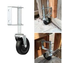 4 Inch Heavy Duty Rubber Mute Spring Loaded Gate Door Wheel Caster Spring Wheel 100kg Load Capacity Home Gate Door Roller Slider